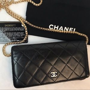AUTHENTIC CHANEL QUILTED LAMBSKIN LONG WALLET